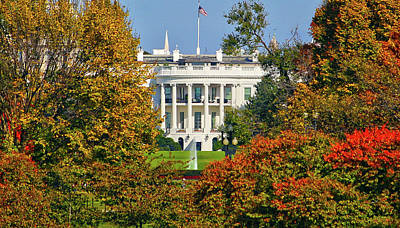 Poster featuring the photograph Autumn White House by Mitch Cat