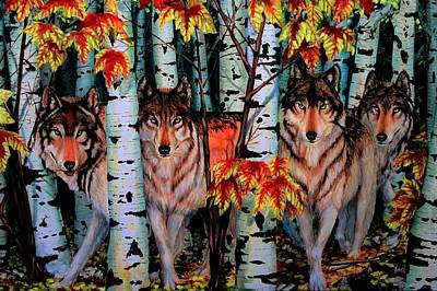 Autumn Wolves Poster
