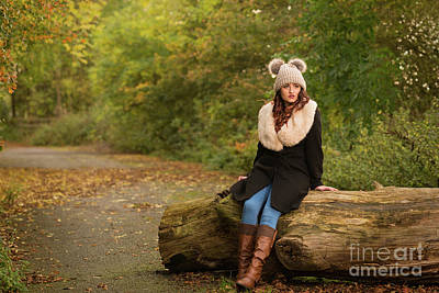 Autumn Woman On Log Poster
