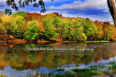 Poster featuring the photograph Autumn Wonders Giving by Diane E Berry