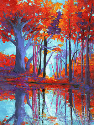 Autumnal Landscape, Impressionistic Art Poster by Patricia Awapara