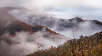 Autumn's Smokey Mountain Mist Poster by Karen Wiles