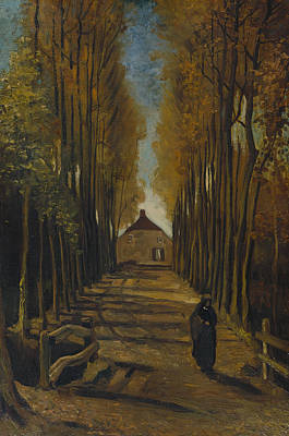 Avenue Of Poplars In Autumn Poster by Vincent van Gogh