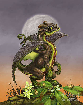Poster featuring the digital art Avocado Dragon by Stanley Morrison