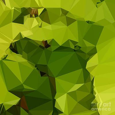 Avocado Green Abstract Low Polygon Background Poster by Aloysius Patrimonio