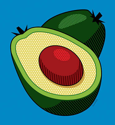 Avocado On Blue Poster by Ron Magnes