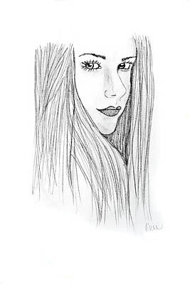 Poster featuring the drawing Avril by Rebecca Wood