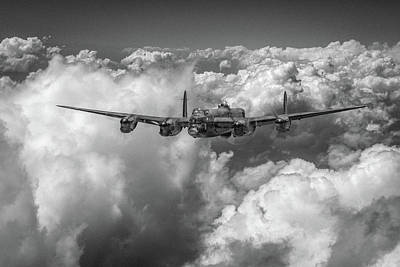 Avro Lancaster Above Clouds Bw Version Poster