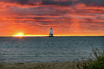 Awesome Sunset With Lighthouse  Poster
