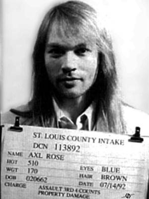Axl Rose Mug Shot 1992 Front Photo Poster