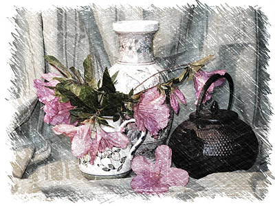 Azaleas And Teapot Poster by Pat Exum