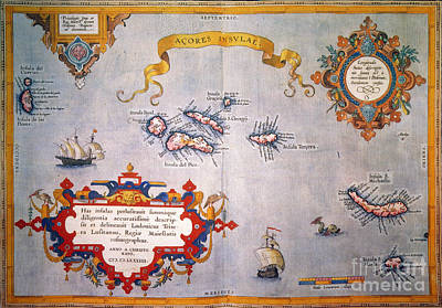 Azores Map, C1584 Poster by Granger