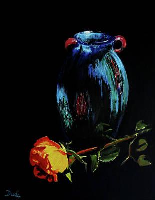 Azure Amphora Vase  Poster