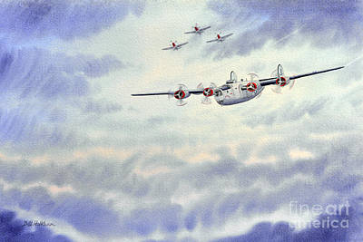 B-24 Liberator Aircraft Painting Poster by Bill Holkham