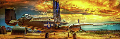 Poster featuring the photograph B-25 Mitchell Bomber by Steve Benefiel