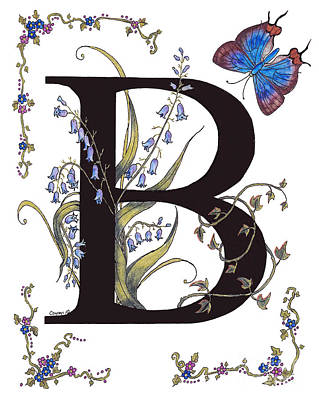 B For Bluebells And A Blue Hairstreak Butterfly Poster by Stanza Widen