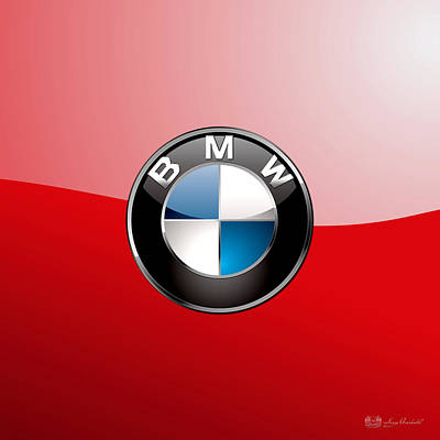 B M W Badge On Red  Poster by Serge Averbukh