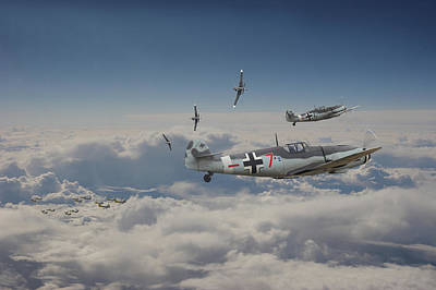 Poster featuring the digital art B17 - Luftwaffe Battleground by Pat Speirs