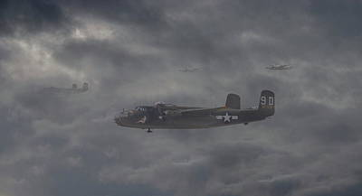 Poster featuring the digital art B25 - 12th Usaaf by Pat Speirs