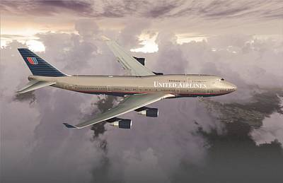 Poster featuring the digital art B747-400  by Mike Ray