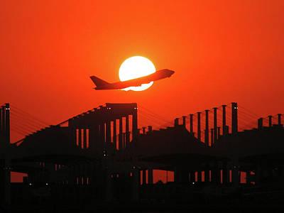 B747 Sunset Take-off Poster
