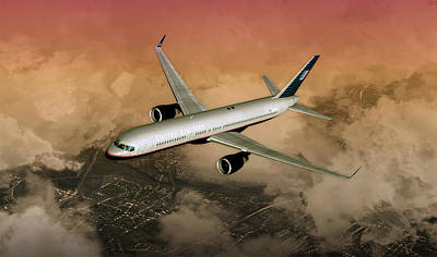 Poster featuring the digital art B757 Dawn Approach by Mike Ray