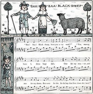 Baa Baa Black Sheep Antique Music Score Poster by Anne Kitzman