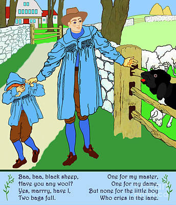 Baa, Baa, Black Sheep Nursery Rhyme Poster by Marian Cates