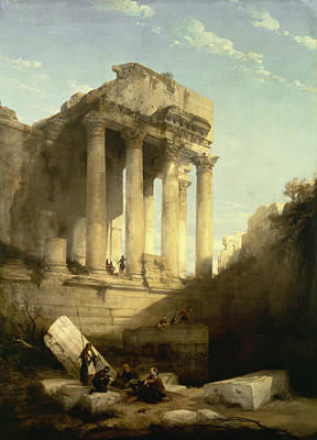 Baalbec - Ruins Of The Temple Of Bacchus Poster by David Roberts