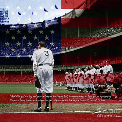 Babe Ruth Baseball Americas Pastime 20170625 Square With Quote Colorized Poster