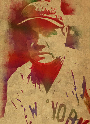 Babe Ruth Baseball Player New York Yankees Vintage Watercolor Portrait On Worn Canvas Poster