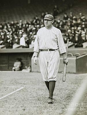 Babe Ruth Going To Bat Poster by Jon Neidert
