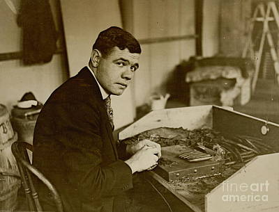 Babe Ruth Rolls Cigars 1919 Poster by Padre Art