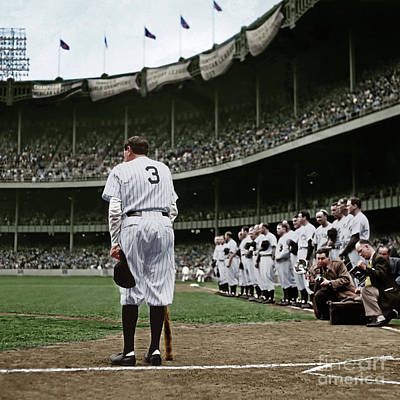 Babe Ruth The Sultan Of Swat Retires At Yankee Stadium Colorized 20170622 Square Poster by Wingsdomain Art and Photography