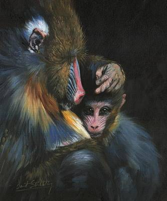 Poster featuring the painting Baboon Mother And Baby by David Stribbling