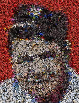 Babr Ruth Puzzle Piece Mosaic Poster by Paul Van Scott