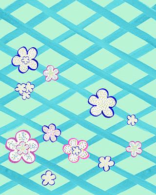 Baby Blue Flower Garden Poster by Irina Sztukowski