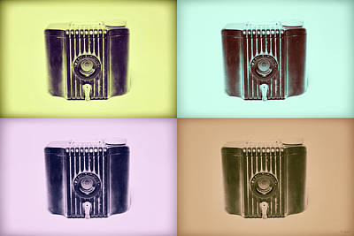 Baby Brownie Camera Four Panel Art Deco Print Poster