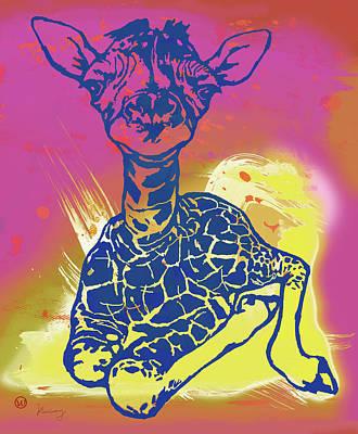 Baby Giraffe - Stylised Pop Art Poster Poster