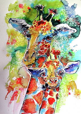 Baby Giraffe With Mammy Poster by Kovacs Anna Brigitta