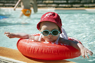 Baby In Pool Poster