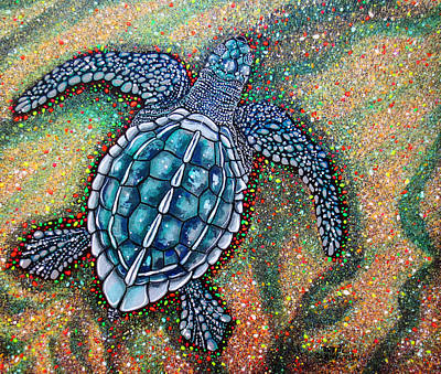 Poster featuring the painting Baby Leatherback Sea Turtle by Debbie Chamberlin