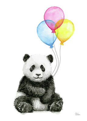 Baby Panda Watercolor With Balloons Poster by Olga Shvartsur