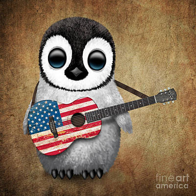 Baby Penguin Playing American Flag Guitar Poster by Jeff Bartels