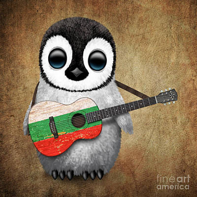 Baby Penguin Playing Bulgarian Flag Guitar Poster by Jeff Bartels