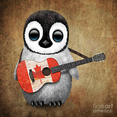 Baby Penguin Playing Canadian Flag Guitar Poster