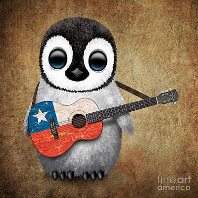Baby Penguin Playing Chilean Flag Guitar Poster by Jeff Bartels