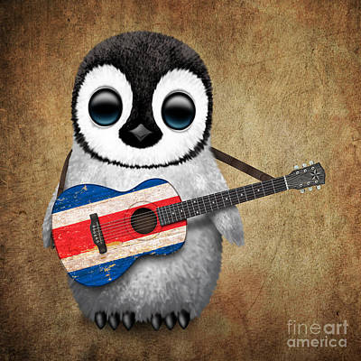 Baby Penguin Playing Costa Rican Flag Guitar Poster
