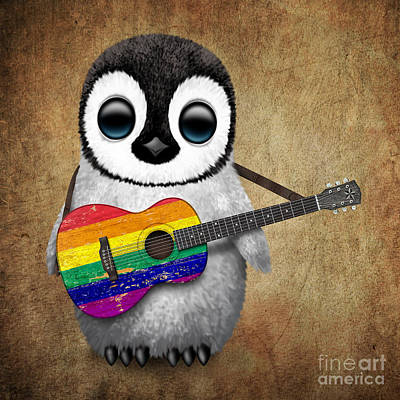 Baby Penguin Playing Gay Pride Rainbow Flag Guitar Poster by Jeff Bartels
