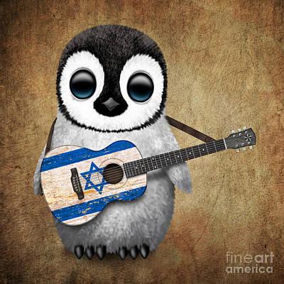 Baby Penguin Playing Israeli Flag Guitar Poster